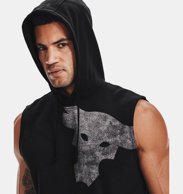 Mens Project Rock Terry Bull Sleeveless Hoodie