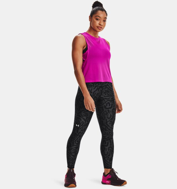 Womens HeatGear® Armour No-Slip Waistband Tonal Print Ankle Leggings