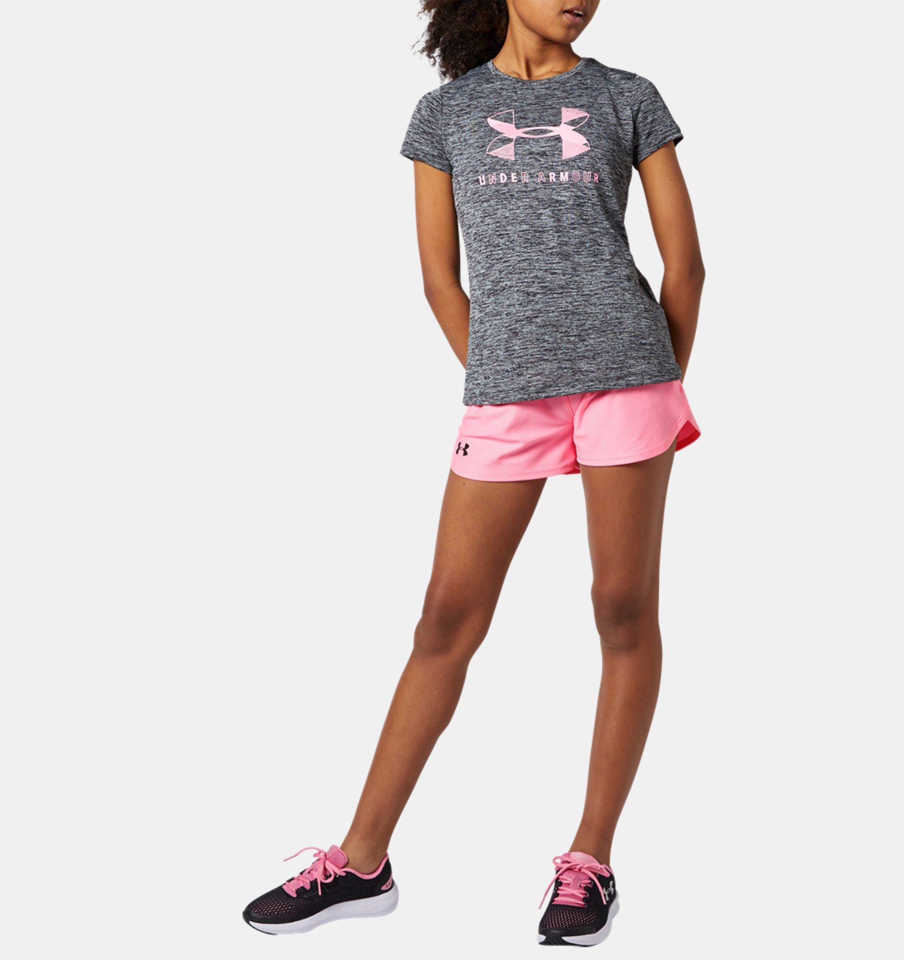 Girls UA Big Logo Twist Short Sleeve