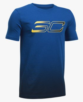Camiseta de Basquete Infantil Masculina Under Armour SC30 Player Fade