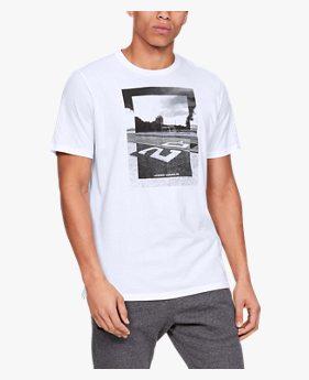 남성 UA 풋볼 포토리얼 스플릿 헴 반팔 티셔츠