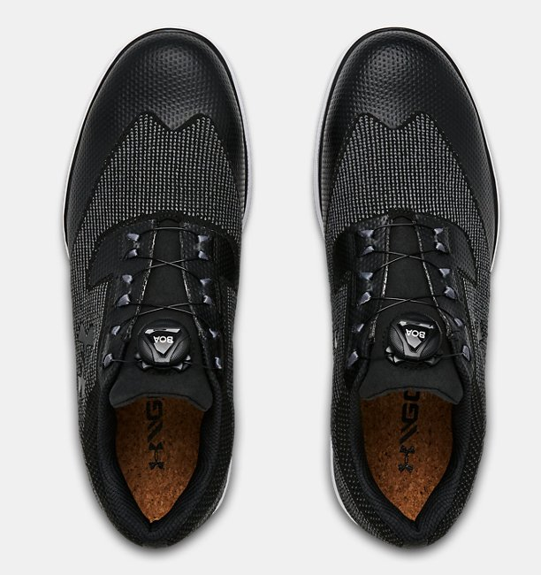 UA Tour Tips Knit SL BOA untuk Pria — Sepatu Golf Lebar (2E)