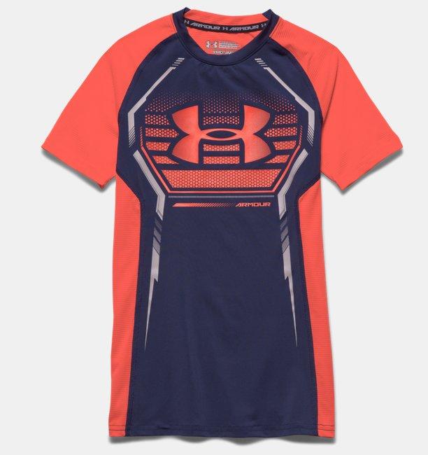 Boys' UA HeatGear® Armour Up Short Sleeve Fitted Shirt