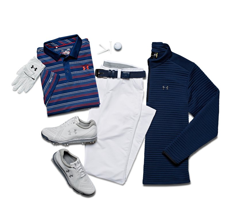 Men's blue & white UA golf polo, pants, jacket and shoes from ArmourBox, next to golf accessories